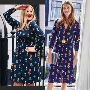 Boden Jessica Military Medal Print Button Dress 6